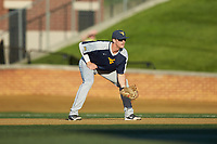 West Virginia Mountaineers first baseman Jackson Cramer (13) on defense against the Wake Forest Demon Deacons in Game Four of the Winston-Salem Regional in the 2017 College World Series at David F. Couch Ballpark on June 3, 2017 in Winston-Salem, North Carolina. The Demon Deacons walked-off the Mountaineers 4-3. (Brian Westerholt/Four Seam Images)