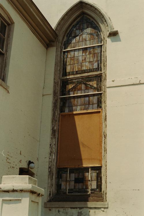1966 June..Conservation.Downtown North (R-8)..Bank Street Baptist Church.501 Bank Street.Views of Stained Glass Windows..10.  Closeup of Window E...NEG#.NRHA#..