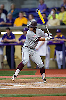 Texas A&M Aggies outfielder Nick Banks (4) at bat during a Southeastern Conference baseball game against the LSU Tigers on April 24, 2015 at Alex Box Stadium in Baton Rouge, Louisiana. LSU defeated Texas A&M 9-6. (Andrew Woolley/Four Seam Images)