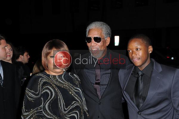 "Zindzi Mandela, Morgan Freeman and Zwelabo Mandela<br /> at the ""Invictus"" Los Angeles Premiere, Academy of Motion Picture Arts and Sciences, Beverly Hills, CA.  12-03-09<br /> David Edwards/Dailyceleb.com 818-249-4998"