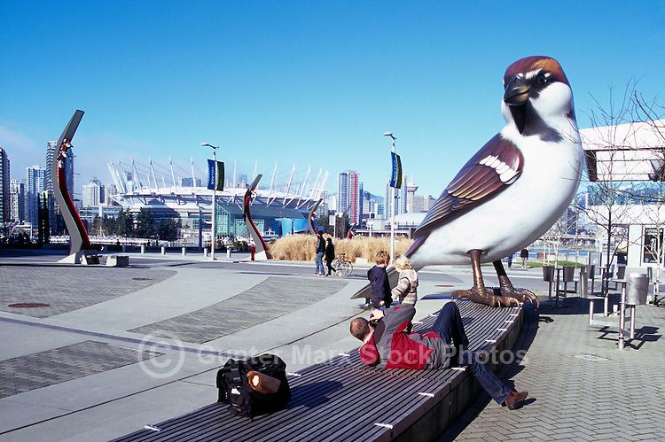 Olympic Plaza at the Village on False Creek (aka Olympic Village), Vancouver, BC, British Columbia, Canada - Giant Sparrow Sculpture (artist - Myfanwy MacLeod) - City of Vancouver Skyline and BC Place Stadium (New Retractable Roof completed in 2011) in Background