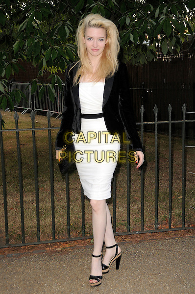 TALULAH RILEY.The Summer Party at The Serpentine Gallery, London, England. .July 9th, 2009 .full length white dress black jacket clutch bag.CAP/CAS.©Bob Cass/Capital Pictures.