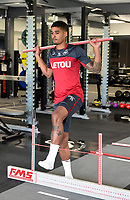 Swansea City's Kyle Naughton in the gym on his first day back for the new season.