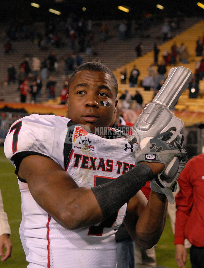 Dec 29, 2006; Tempe, AZ, USA; Texas Tech Red Raiders safety (7) Darcel McBath against the Minnesota Golden Gophers during the Insight Bowl at Sun Devil Stadium in Tempe. Mandatory Credit: Mark J. Rebilas-US PRESSWIRE Copyright © 2006 Mark J. Rebilas....