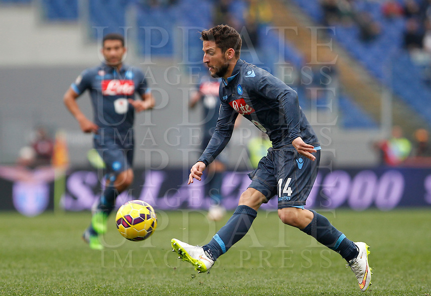Calcio, Serie A: Lazio vs Napoli. Roma, stadio Olimpico, 18 gennaio 2015.<br /> Napoli&rsquo;s Dries Mertens in action during the Italian Serie A football match between Lazio and Napoli at Rome's Olympic stadium, 18 January 2015.<br /> UPDATE IMAGES PRESS/Isabella Bonotto