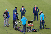 Kumar Sangakkara and Wasim Akram prepare to present for Star India after the abandonment of the fixture between Pakistan vs Sri Lanka, ICC World Cup Cricket at the Bristol County Ground on 7th June 2019