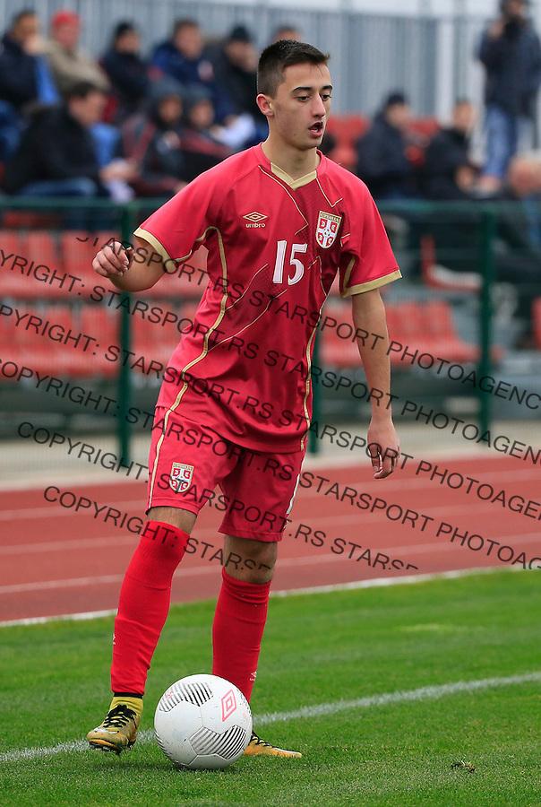 Fudbal soccer friendly match<br /> Srbija U17 v Madjarska U17<br /> Nikola Lakcevic<br /> Stara Pazova, 08.12.2015.<br /> foto: Srdjan Stevanovic/Starsportphoto &copy;