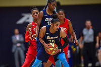Washington, DC - August 31, 2018: Atlanta Dream guard Alex Bentley (20) handles the ball in a crowd during semi finals playoff game between Atlanta Dream and Wasington Mystics at the Charles Smith Center at George Washington University in Washington, DC. (Photo by Phil Peters/Media Images International)
