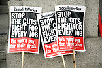 May Day march and rally at Trafalgar Square, May 1st, 2010 Socialist Worker party banners
