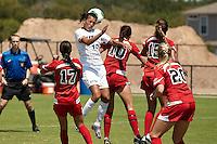 SAN ANTONIO, TX - SEPTEMBER 1, 2013: The Lamar University Cardinals versus the University of Texas at San Antonio Roadrunners Women's Soccer at the Park West Athletics Complex. (Photo by Jeff Huehn)