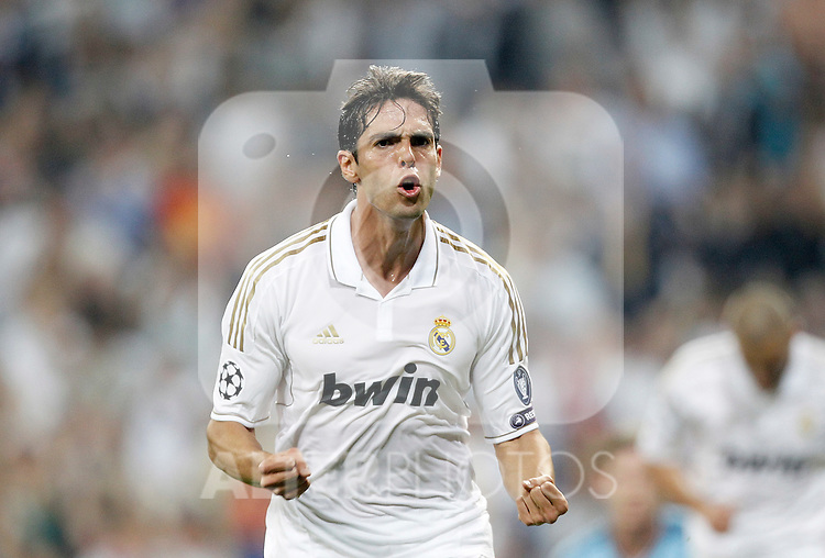 Real Madrid's Kaka celebrates during UEFA Champions League match. September 27, 2011. (ALTERPHOTOS/Alvaro Hernandez)