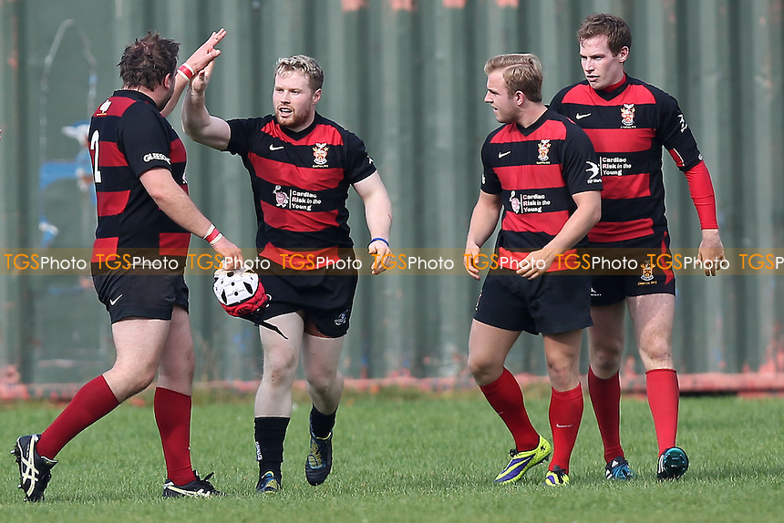 Campion celebrate their first try - Old Cooperians RFC vs Campion RFC - London 2 North East Rugby at Coopers Company & Coborn School, Upminster - 20/09/14 - MANDATORY CREDIT: Gavin Ellis/TGSPHOTO - Self billing applies where appropriate - contact@tgsphoto.co.uk - NO UNPAID USE