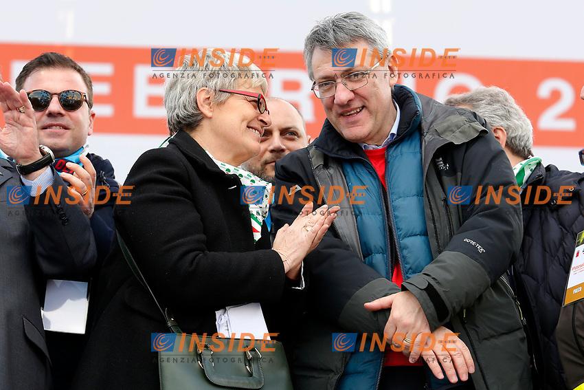 Annamaria Furlan e Maurizio Landini<br /> Rome February 9th 2019. Demonstration of the three Italian trade unions, CGIL, CISL, UIL.<br /> Foto Samantha Zucchi Insidefoto