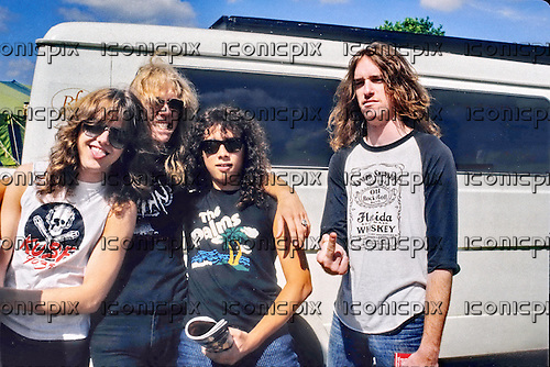 METALLICA - L-R: Lars Ulrich, James Hetfield, Kirk Hammett, Cliff Burton - backstage at the Breaking Sound Festival at Le Bourget Airport near Paris France - 29 Aug 1984.  Photo credit: Bertrand Alary/IconicPix