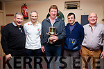 The Shebeen 2 darts team are the Kelleher Cup winners for 2019 having defeated Shebeen 1 4-2 in the final which was held in the Fertha Bar on Friday night, 52 players(13 teams) took part, pictured here l-r; Mossey Coffey, John Pio Kelly, Padraig Fogarty, Patrick O'Donoghue & Philip O'Sullivan.