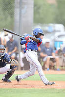 Eric Jenkins (2) of the AZL Rangers bats during a game against the AZL Padres at the San Diego Padres Spring Training Complex on July 5, 2015 in Peoria, Arizona. Padres defeated Rangers, 9-2. (Larry Goren/Four Seam Images)