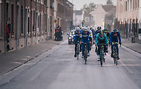 The lead group racing through the streets of Dour (in the local laps)<br /> <br /> 50th GP Samyn 2018<br /> Quaregnon &gt; Dour: 200km (BELGIUM)