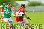 in Action  East Kerry's  Lee O'Donoghue and Milltown/Castlemaine's Stephan Roche  at the Senior County Football Championship Milltown/CastleMaine V East Kerry at Killorglin GAA on Sunday