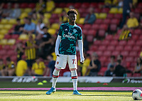 Bukayo Saka of Arsenal pre match during the Premier League match between Watford and Arsenal at Vicarage Road, Watford, England on 16 September 2019. Photo by Andy Rowland.