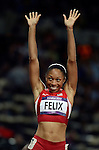 LONDON, ENGLAND - AUGUST 8:  Allison Felix of the USA wins the Women's 200M Final during the Athletics Competition, Day 13 of the London 2012 Olympic Games on August 8, 2012 at Olympic Stadium  in London, England. (Photo by Donald Miralle)
