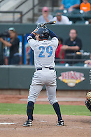 Mauricio Ramos (29) of the Wilmington Blue Rocks at bat against the Winston-Salem Dash at BB&T Ballpark on June 10, 2015 in Winston-Salem, North Carolina.  The Blue Rocks defeated the Dash 11-5.  (Brian Westerholt/Four Seam Images)