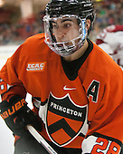 Aaron Ave (Princeton - 28) - The Harvard University Crimson defeated the visiting Princeton University Tigers 5-0 on Harvard's senior night on Saturday, February 28, 2015, at Bright-Landry Hockey Center in Boston, Massachusetts.