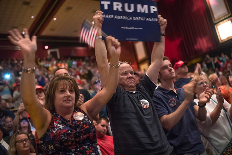 UNITED STATES - JULY 5: Supporters of Republican Presidential candidate Donald Trump attend a rally at the Duke Energy Center in Raleigh, N.C., July 5, 2016. (Photo By Tom Williams/CQ Roll Call)