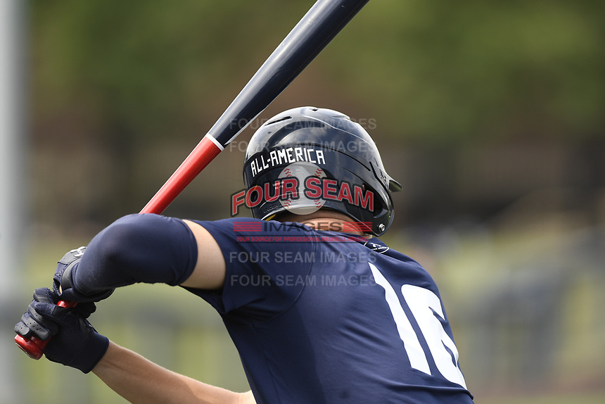 TEMPORARY UNEDITED FILE:  Image may appear lighter/darker than final edit - all images cropped to best fit print size.  <br /> <br /> Under Armour All-American Game presented by Baseball Factory on July 19, 2018 at Les Miller Field at Curtis Granderson Stadium in Chicago, Illinois.  (Mike Janes/Four Seam Images) Chris Villaman is a pitcher from Ledford High School in High Point, North Carolina committed to LSU.