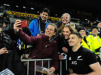 Beauden Barrett poses with fans after the Rugby Championship match between the NZ All Blacks and Argentina Pumas at Yarrow Stadium in New Plymouth, New Zealand on Saturday, 9 September 2017. Photo: Dave Lintott / lintottphoto.co.nz