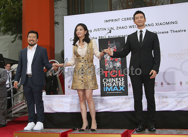 03 June 2015 - Hollywood, California - Justin Lin, Zhao Wei, Huang Xiaoming. TCL Chinese Theatre IMAX 88th Birthday Hand Print Ceremony held at the at The TCL Chinese Theatre IMAX. Photo Credit: F. Sadou/AdMedia