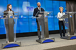 BRUSSELS - BELGIUM - 13 December 2019 -- EU-Summit with Heads of State - European Council meeting - Presidency of Finland. -- Sanna Marin (le), Prime Minister of Finland, Charles Michel, President of the European Council and Ursula von Der Leyen, President of the European Commission during the press conference  -- PHOTO: Juha ROININEN / EUP-IMAGES