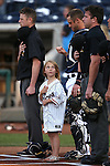 A member of the Archie Kid's Club waits with for the National Anthem at Greater Nevada Field, in Reno, Nev., on Wednesday, Aug. 10, 2016.  <br /> Photo by Cathleen Allison