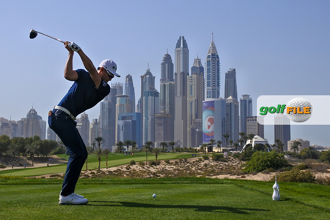 Haotong Li (CHN) on the 8th tee during Round 3 of the Omega Dubai Desert Classic, Emirates Golf Club, Dubai,  United Arab Emirates. 26/01/2019<br /> Picture: Golffile | Thos Caffrey<br /> <br /> <br /> All photo usage must carry mandatory copyright credit (&copy; Golffile | Thos Caffrey)