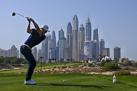 Haotong Li (CHN) on the 8th tee during Round 3 of the Omega Dubai Desert Classic, Emirates Golf Club, Dubai,  United Arab Emirates. 26/01/2019<br /> Picture: Golffile | Thos Caffrey<br /> <br /> <br /> All photo usage must carry mandatory copyright credit (© Golffile | Thos Caffrey)