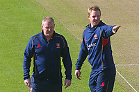 Essex CCC head coach Anthony McGrath (L) and Simon Harmer assess the conditions during Yorkshire CCC vs Essex CCC, Specsavers County Championship Division 1 Cricket at Emerald Headingley Cricket Ground on 16th April 2018
