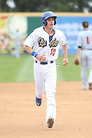 Cody Bellinger (10) of the Rancho Cucamonga Quakes runs the bases during a game against the Visalia Rawhide at LoanMart Field on May 6, 2015 in Rancho Cucamonga, California. Visalia defeated Rancho Cucamonga, 7-2. (Larry Goren/Four Seam Images)