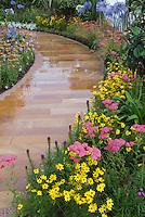 Yellow, Pink, Blue perennial garden: Coreopsis, Achillea, Liatris, Agapanthus