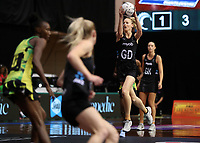 24.02.2018 Silver Ferns Katrina Grant in action during the Silver Ferns v Jamaica Taini Jamison Trophy netball match at the North Shore Events Centre in Auckland. Mandatory Photo Credit ©Michael Bradley.