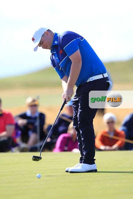 Caolan Rafferty (GB&I) on the 1st green during Day 1 Singles of the Walker Cup at Royal Liverpool Golf CLub, Hoylake, Cheshire, England. 07/09/2019.<br /> Picture: Thos Caffrey / Golffile.ie<br /> <br /> All photo usage must carry mandatory copyright credit (© Golffile | Thos Caffrey)