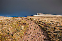 Stone pathway to Corn Du, Brecon Beacons national park, Wales