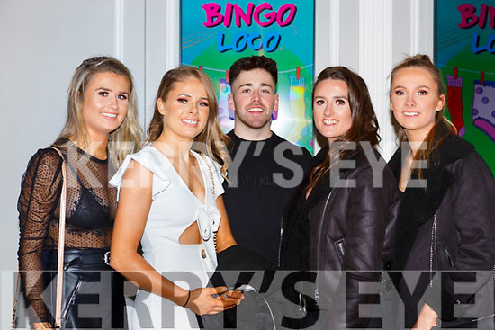 Aisling, Aine Deirdre and Roisin Cunningha, with Padraig Ahern at the Loco Bingo in the INEC on Friday night
