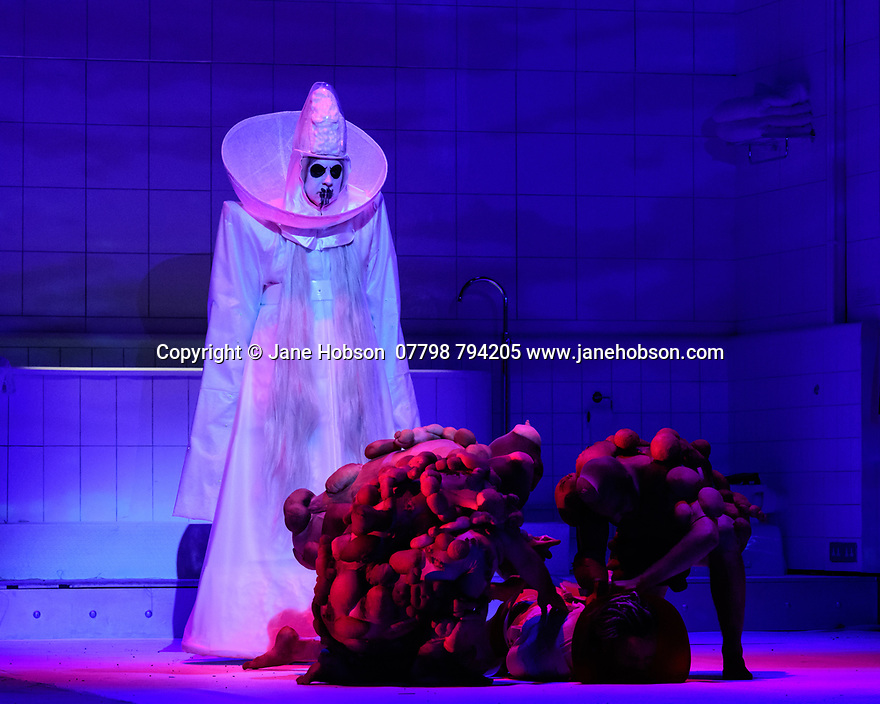 """EMBARGOED UNTIL 23:00 FRIDAY 18 OCTOBER 2019: English National Opera presents """"The Mask of Orpheus"""", by Sir Harrison Birthwhistle, libretto by Peter Zinovieff, at the London Coliseum, in its first London restaging in the 30 years since its premiere, coinciding with the celebration of Sir Harrison's 85th birthday. Directed by Daniel Kramer, with lighting design by Peter Mumford, set design by Lizzie Clachan and costume design by Daniel Lismore. Picture shows: the company"""