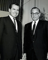 "NIXON-BROWN DEBATE: Richard Nixon and Edmund G..""Pat"" Brown before debate during campaign for Governor of California in 1962. (photo by Ron Riesterer)"