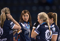 Glasgow. SCOTLAND.   Sotland Skip, Eve MUIRHEAD talk's with her team, during  the &quot;Round Robin&quot; Game.  Scotland vs Russia,  Le Gruy&egrave;re European Curling Championships. 2016 Venue, Braehead  Scotland<br /> Thursday  24/11/2016<br /> <br /> [Mandatory Credit; Peter Spurrier/Intersport-images]