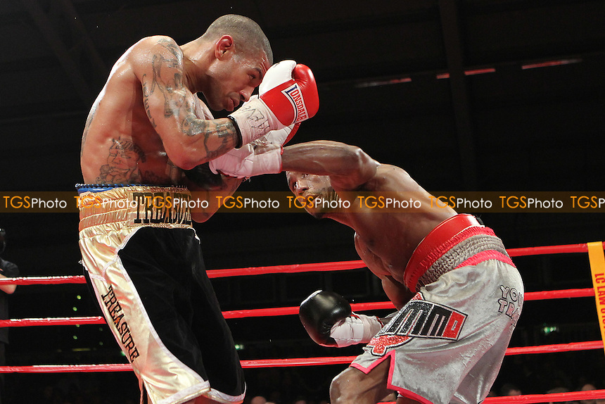 Ashley Theophane vs Darren Hamilton  in a boxing contest at the Aintree Equestrian Centre, Liverpool, promoted by Frank Maloney - 19/05/12 - MANDATORY CREDIT: Chris Royle/TGSPHOTO - Self billing applies where appropriate - 0845 094 6026 - contact@tgsphoto.co.uk - NO UNPAID USE..