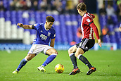 1st November 2017, St. Andrews Stadium, Birmingham, England; EFL Championship football, Birmingham City versus Brentford; Che Adams of Birmingham City jinks inside towards goal