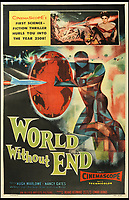 BNPS.co.uk (01202 558833)<br /> Pic: Bonhams/BNPS<br /> <br /> World without End, 1956, estimate &pound;800.<br /> <br /> A wacky collection of sci-fi and horror genre B movie posters from the 'Golden Age of Hollywood' have emerged for sale. <br /> <br /> The 15-strong assortment of obscure advertisements spans from 1933 until 1966 and are worth up to &pound;5,000 each. <br /> <br /> B movies were characterised by their low-budget and extravagant posters, which were often better received than the actual film. <br /> <br /> The most expensive is an 83ins by 39ins poster for the 1933 film Ghoul, which is expected to fetch &pound;5,000. <br /> <br /> The posters have been consigned to auction by a selection of UK sellers to auctioneer Bonhams.