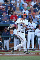 Branden Cogswell #7 of the Virginia Cavaliers bats during Game 4 of the 2014 Men's College World Series between the Virginia Cavaliers and Ole Miss Rebels at TD Ameritrade Park on June 15, 2014 in Omaha, Nebraska. (Brace Hemmelgarn/Four Seam Images)