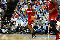 CHAPEL HILL, NC - FEBRUARY 25: Markell Johnson #11 of North Carolina State University brings the ball up the court during a game between NC State and North Carolina at Dean E. Smith Center on February 25, 2020 in Chapel Hill, North Carolina.