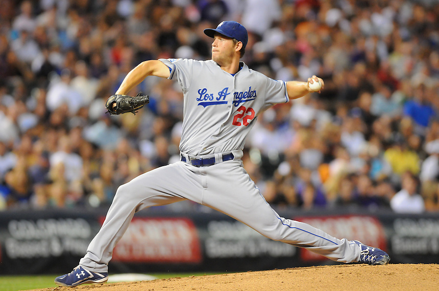 27 AUGUST 2010: Los Angeles Dodgers starting pitcher Clayton Kershaw (22) during a regular season Major League Baseball game between the Colorado Rockies and the Los Angeles Dodgers at Coors Field in Denver, Colorado.   *****For Editorial Use Only*****